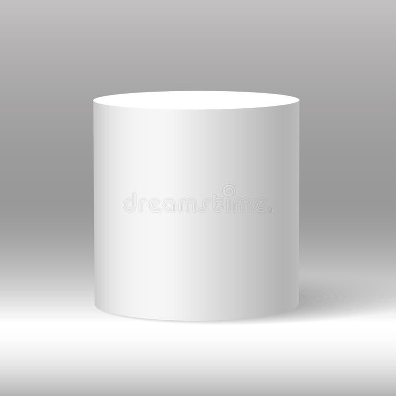 Witte mooie realistische 3d cilindervector op in de schaduw gestelde achtergrond royalty-vrije illustratie