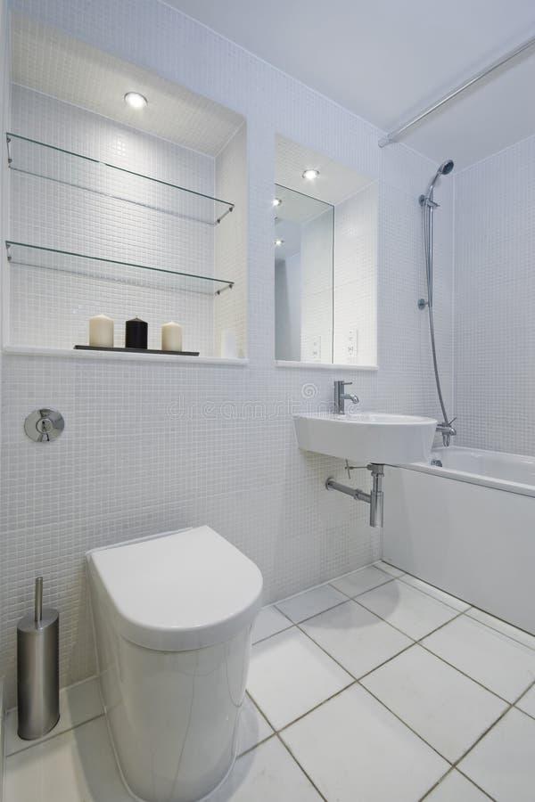 Witte Mozaïek Betegelde Badkamers Stock Afbeelding - Afbeelding ...