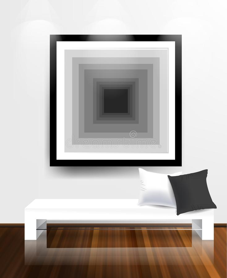 Witte muur en houten vloer. stock illustratie
