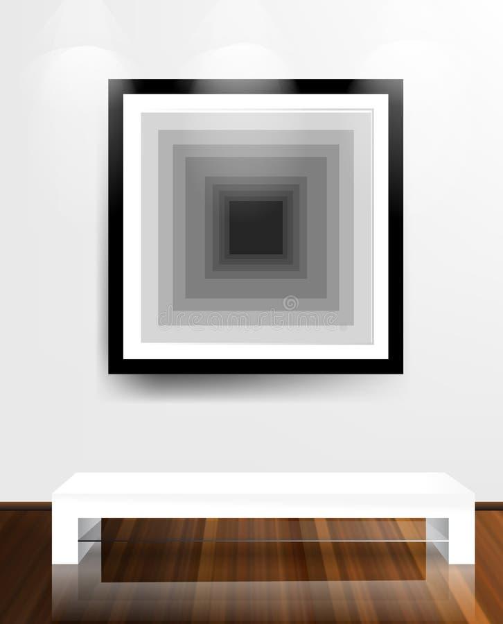 Witte muur en houten vloer. vector illustratie