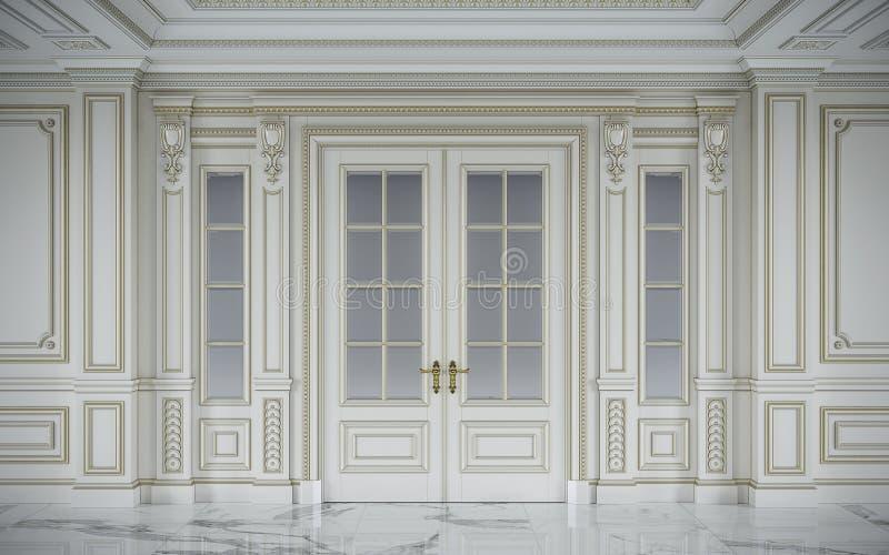 Witte muurpanelen in klassieke stijl met het vergulden het 3d teruggeven vector illustratie