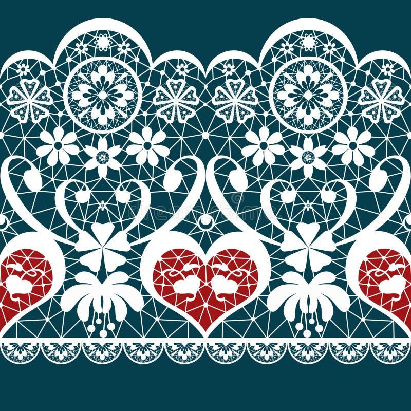 Witte naadloze het patroontextuur van het valentijnskaartkant op blauw vector illustratie