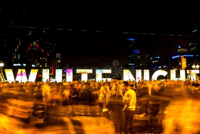 Witte Nacht Februari 2014 Melbourne royalty-vrije stock afbeeldingen