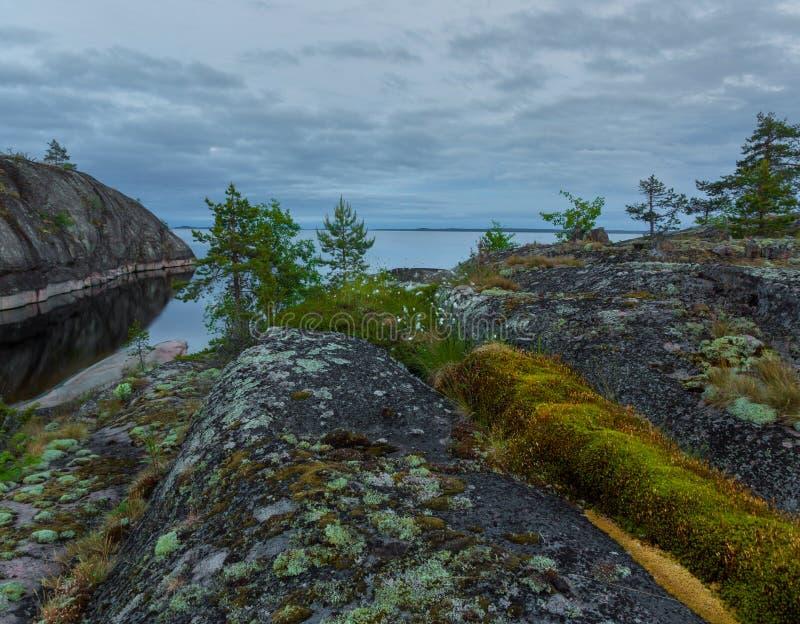 Witte nacht op meer Ladoga, Karelië, Rusland stock afbeeldingen