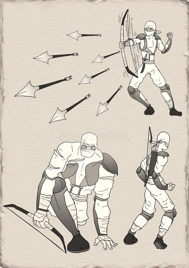 Witte ninjaillustratie vector illustratie