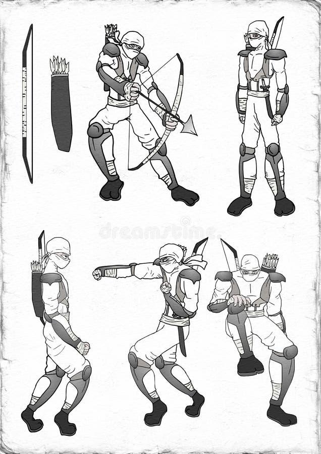 Witte ninjaillustratie stock illustratie