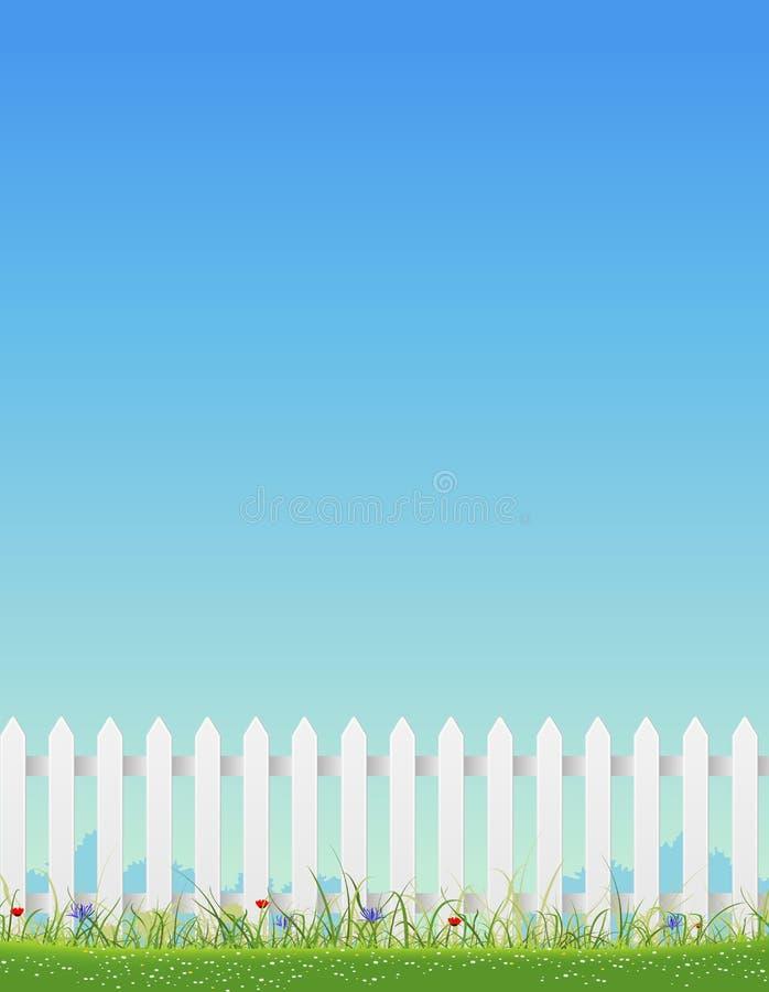 Witte Omheining en Blauwe Hemel vector illustratie