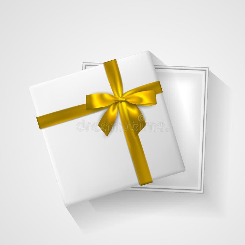 Witte open Giftdoos met boog en lint hoogste mening Element voor decoratiegiften, groeten, vakantie Vector illustratie royalty-vrije illustratie
