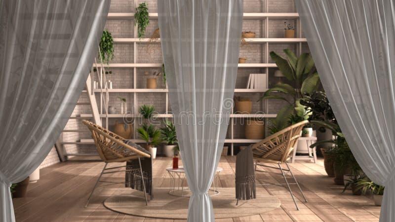 Witte openingen gordijnen bedekken conservatoir, wintertuin, lounge interior design, clipping path, verticale vouwen, zachte tull stock illustratie