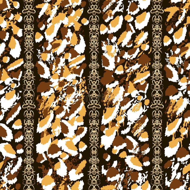 Witte, oranje en bruine penseelstreek en gouden overladen kettingen op zwarte achtergrond stock illustratie