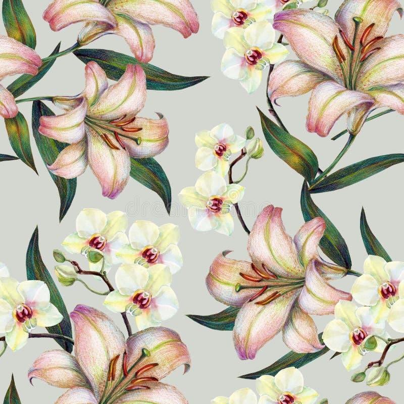 Witte orchideebloem op een tak, lelie, waterverf, boeket, naadloos patroon stock illustratie
