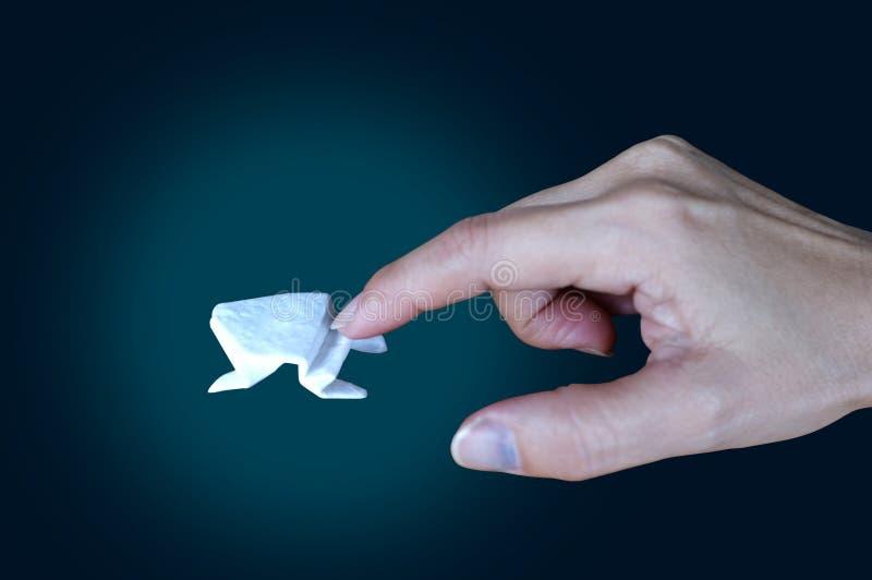Witte origamikikker op zwarte achtergrond, de Concepten Stijgende Groei, Zaken, de Reuzespronggroei stock foto's