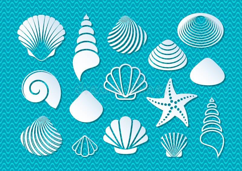Witte overzeese shells pictogrammen vector illustratie