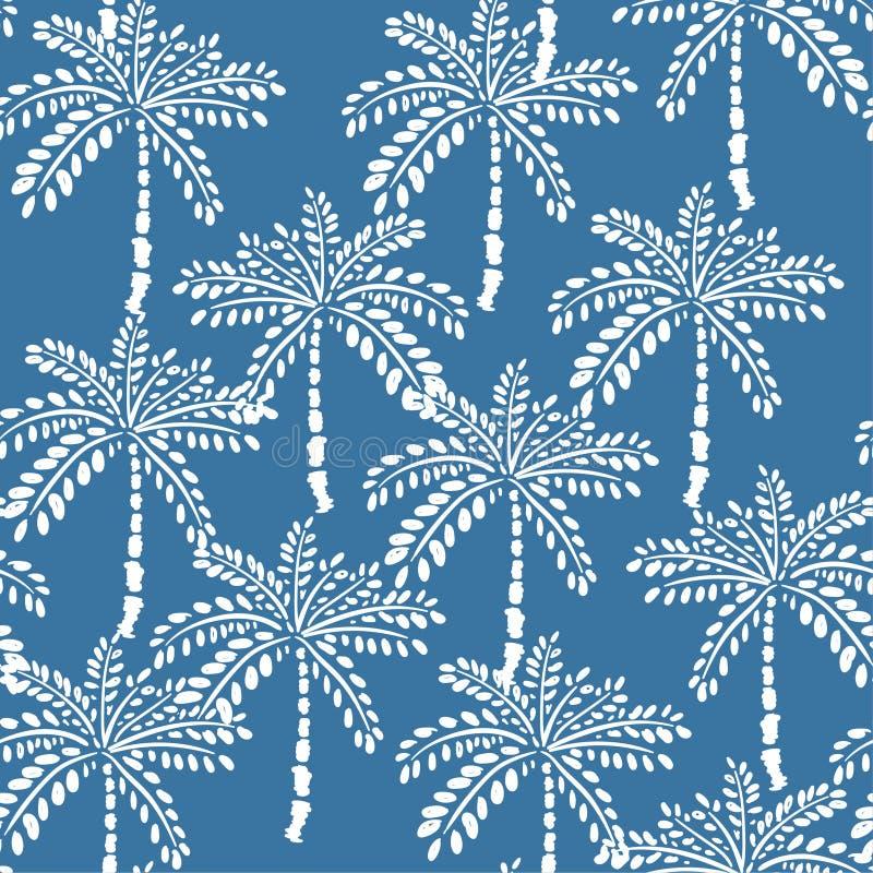 Witte overzichtspalmen op de blauwe achtergrond van de de zomerhemel Vector royalty-vrije illustratie