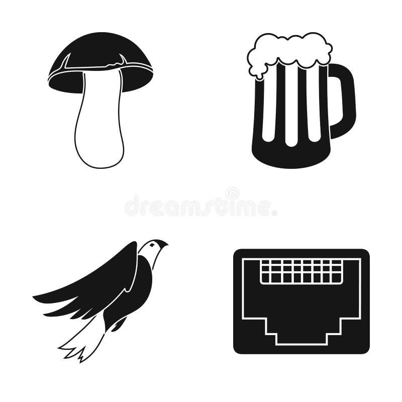 Witte paddestoel, een glas bier en ander Webpictogram in zwarte stijl Orel, schakelaar voor kabelpictogrammen in vastgestelde inz royalty-vrije illustratie