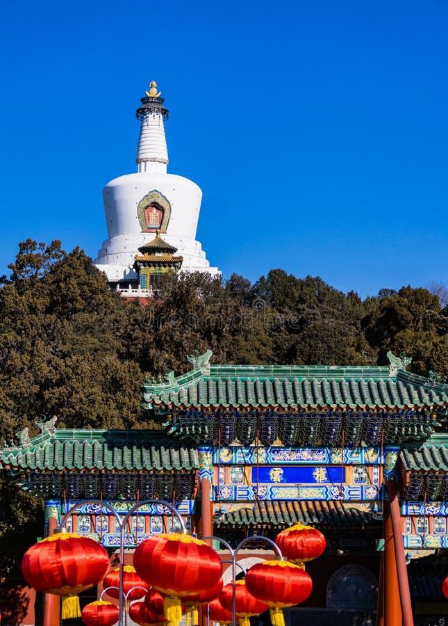 Witte Pagode in Beihai-Park, Peking, China stock afbeelding