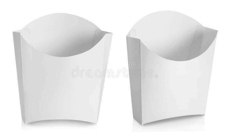 Witte Pakketdoos voor frietenvoedingsmiddelen stock foto's