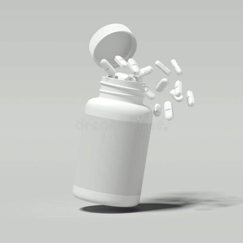Witte pillen die uit witte fles, het 3d teruggeven morsen royalty-vrije illustratie
