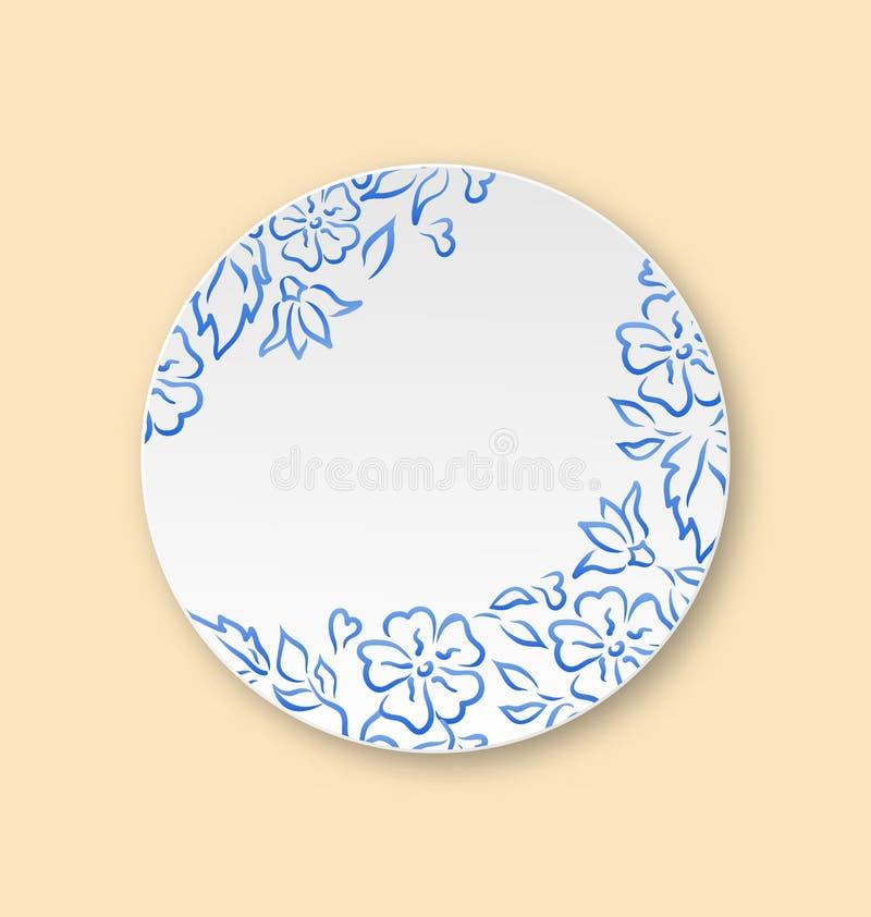 Witte plaat met hand getrokken bloemenornament, lege ceramische plaat royalty-vrije illustratie