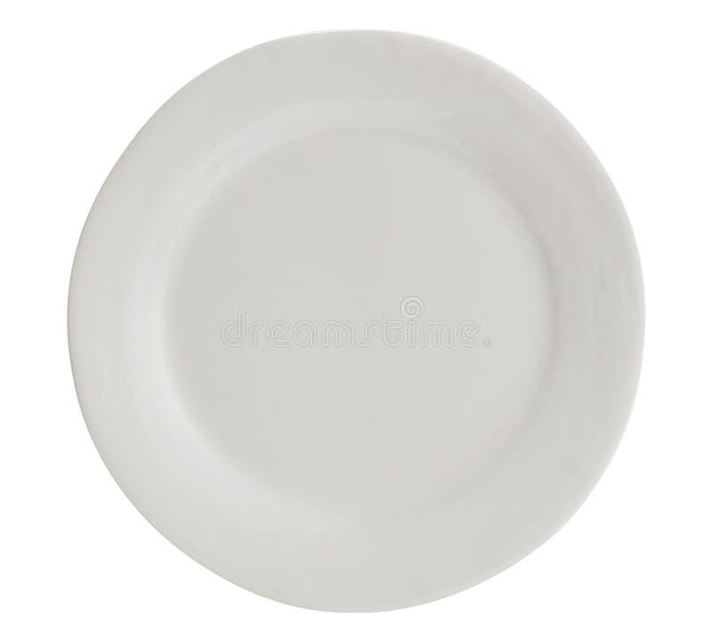 Witte plaat met op witte achtergrond Hoogste mening 3d beeld - Beeld royalty-vrije stock fotografie