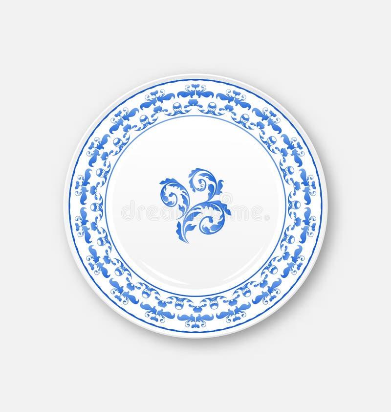 Witte plaat met Russisch nationaal ornament in lege gzhelstijl, vector illustratie