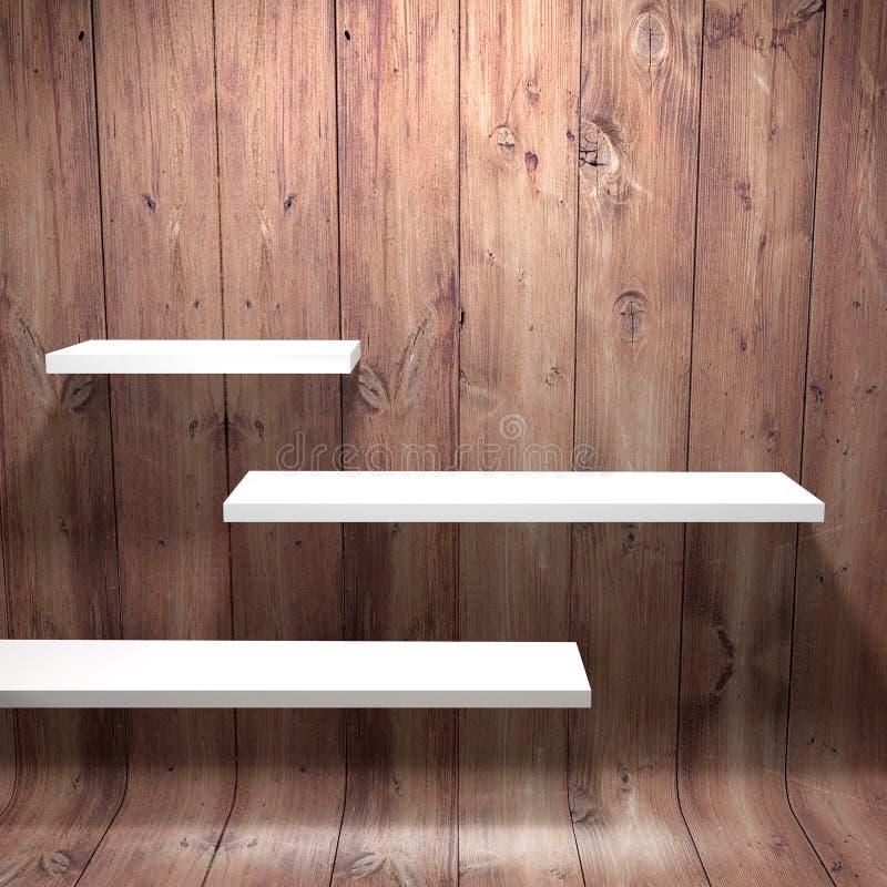 Witte planken met houten muur royalty-vrije illustratie