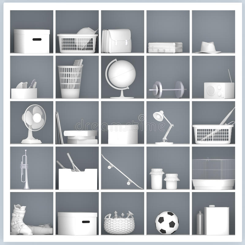 Witte planken met verschillende naar huis verwante voorwerpen vector illustratie