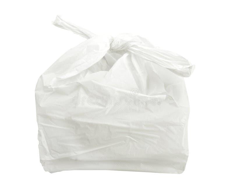 Witte plastic die zak op witte achtergrond met het knippen van weg wordt geïsoleerd royalty-vrije stock fotografie