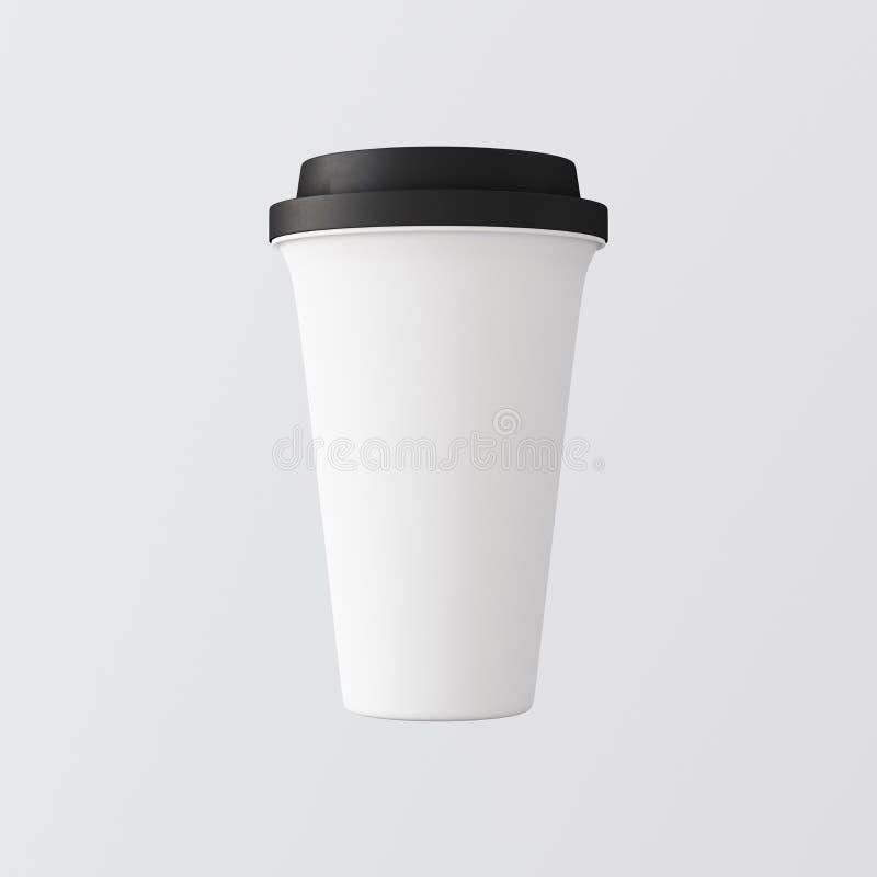 Witte Plastic Document Koffiekop Gray Background Één haalt Geïsoleerde weg Kartonmok Gesloten Zwarte Kleur GLB Kleinhandelsmodel vector illustratie