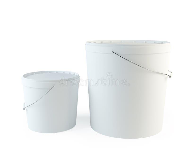 Witte Plastic Emmer stock illustratie