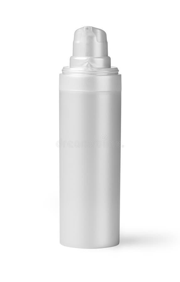 Witte plastic fles stock afbeelding