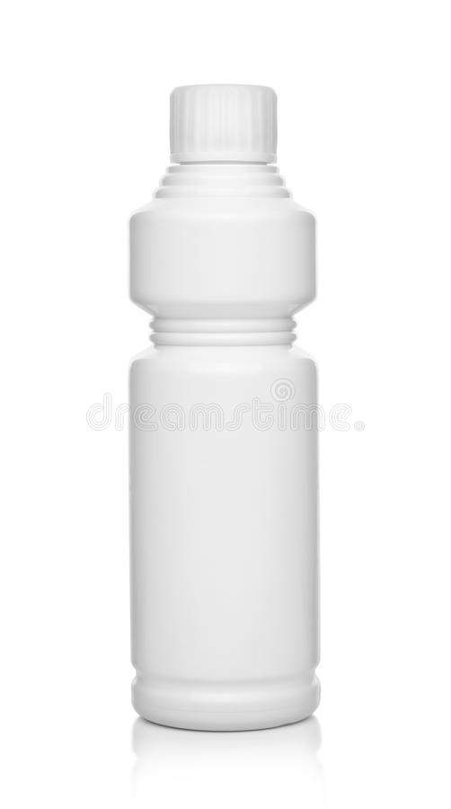 Witte plastic fles stock afbeeldingen