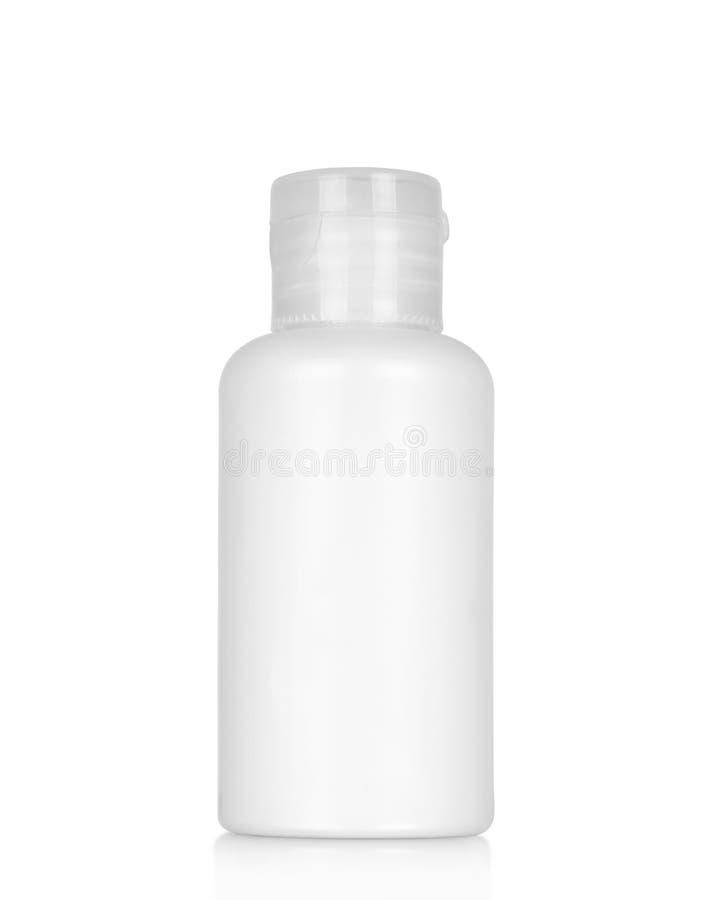 Witte plastic fles met nevel royalty-vrije stock fotografie