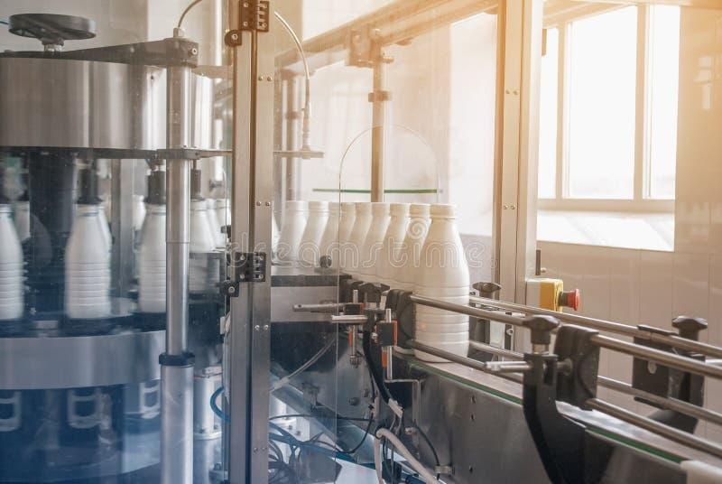 Witte plastic flessen met zuivelproduct op de productielijn Gebotteld op transportband stock fotografie