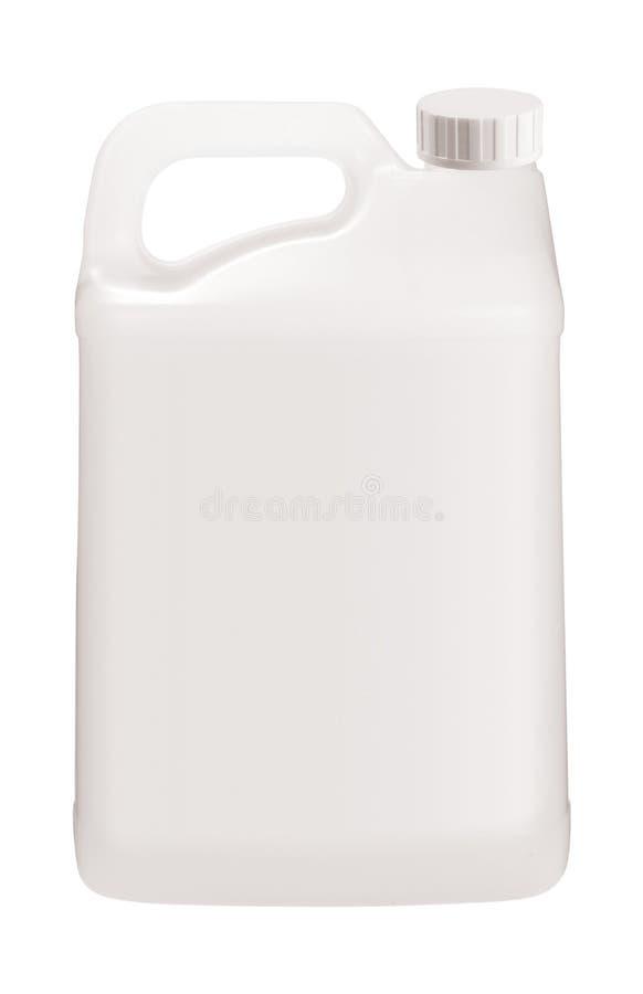 Witte plastic jerrycan op wit stock fotografie