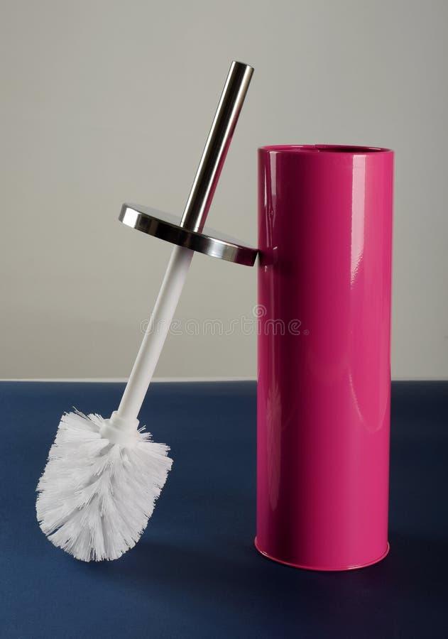 Witte plastic toiletborstel royalty-vrije stock afbeelding