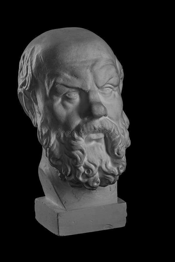 Witte pleistermislukking, plastisch portret van Socrates royalty-vrije stock fotografie