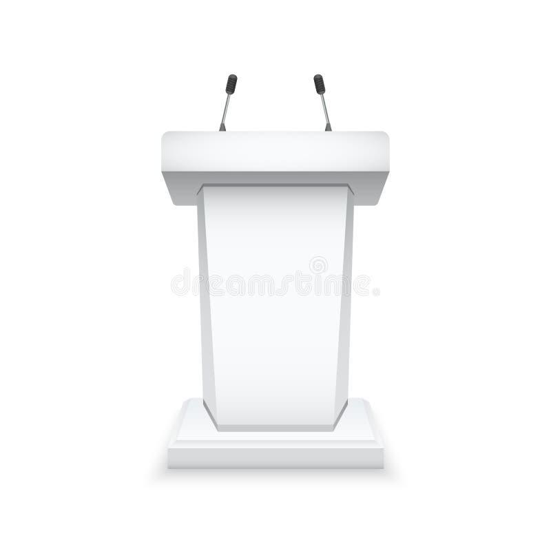 Witte podiumtribune met microfoons Geïsoleerd tribunemodel Vector illustratie royalty-vrije illustratie