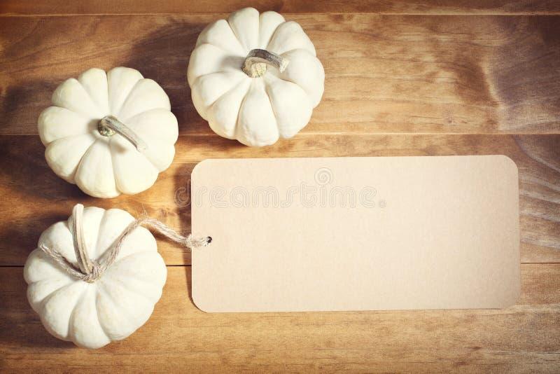 Witte pompoenen met berichtkaart royalty-vrije stock foto