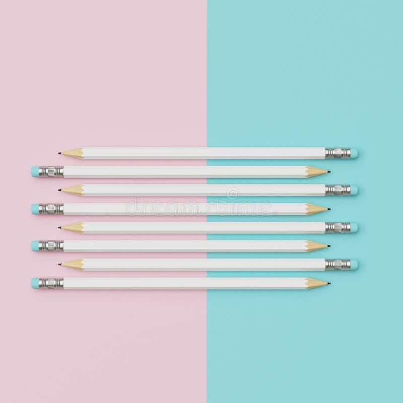 Witte Potloden die op Roze en blauwe pastelkleurdocument achtergrond sorteren vector illustratie