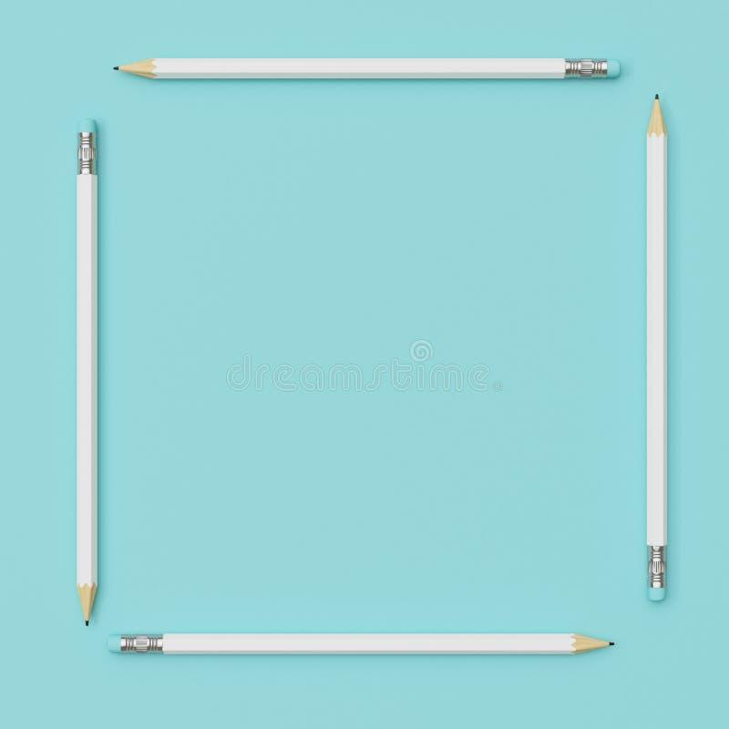 Witte Potloden rond vierkante vorm op blauwe pastelkleurdocument achtergrond royalty-vrije illustratie