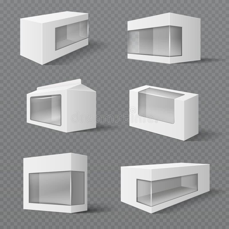 Witte product verpakkende dozen Giftpakketten met transparant venster Vectormodellen stock illustratie