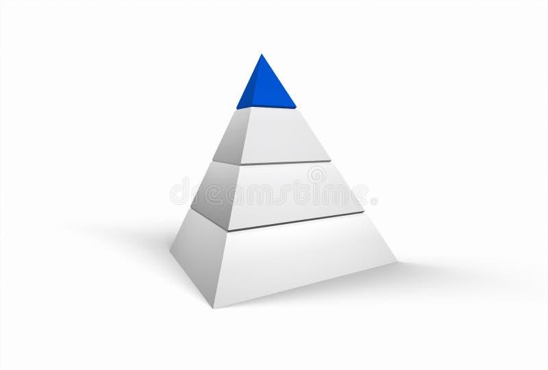 Witte pyramide op witte achtergrond met blauwe bovenkant vector illustratie