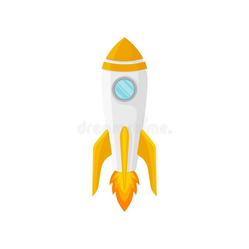Witte raket met oranje neus Vector illustratie op witte achtergrond stock illustratie