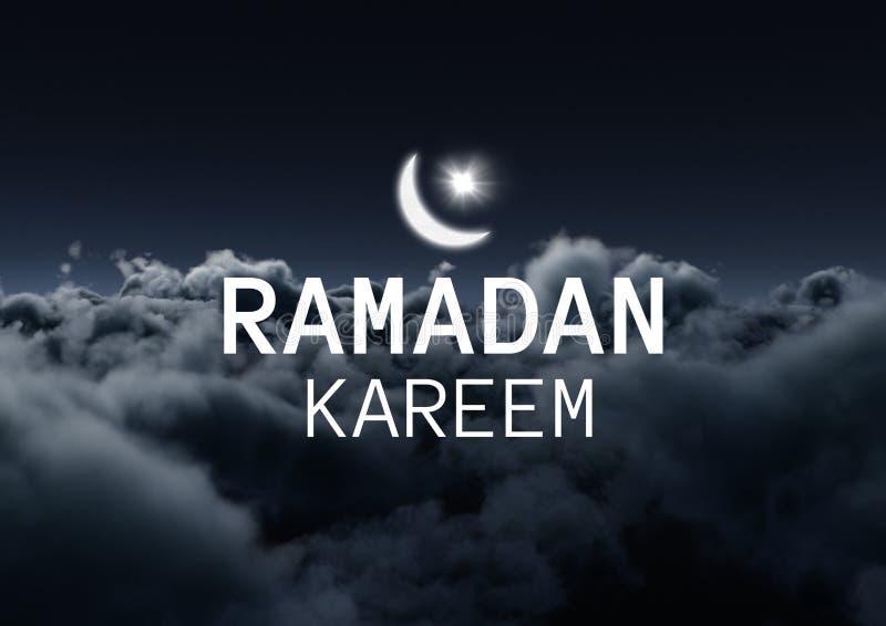 Witte ramadan grafisch met gloed tegen wolken bij nacht royalty-vrije stock fotografie