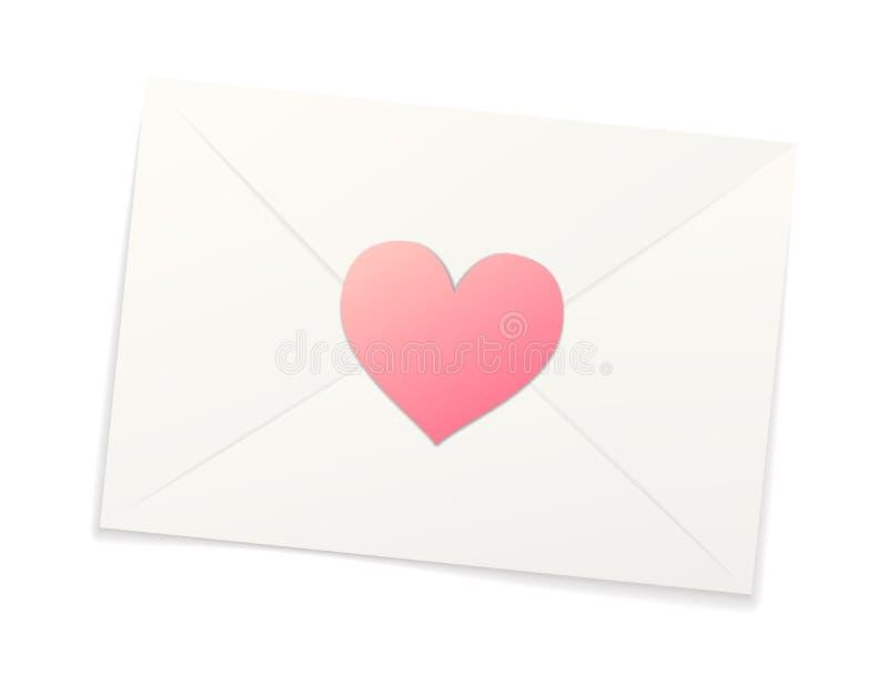 Witte realistische document envelop met roze sticker in hartvorm op wit stock illustratie