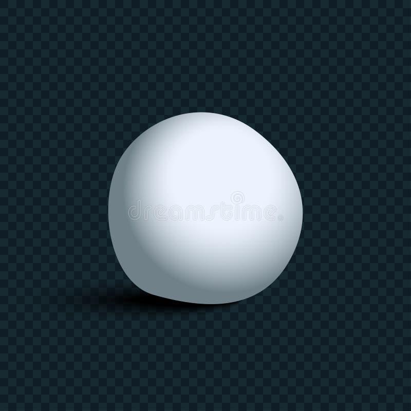 Witte realistische Sneeuwbal met schaduw op transparante achtergrond stock illustratie