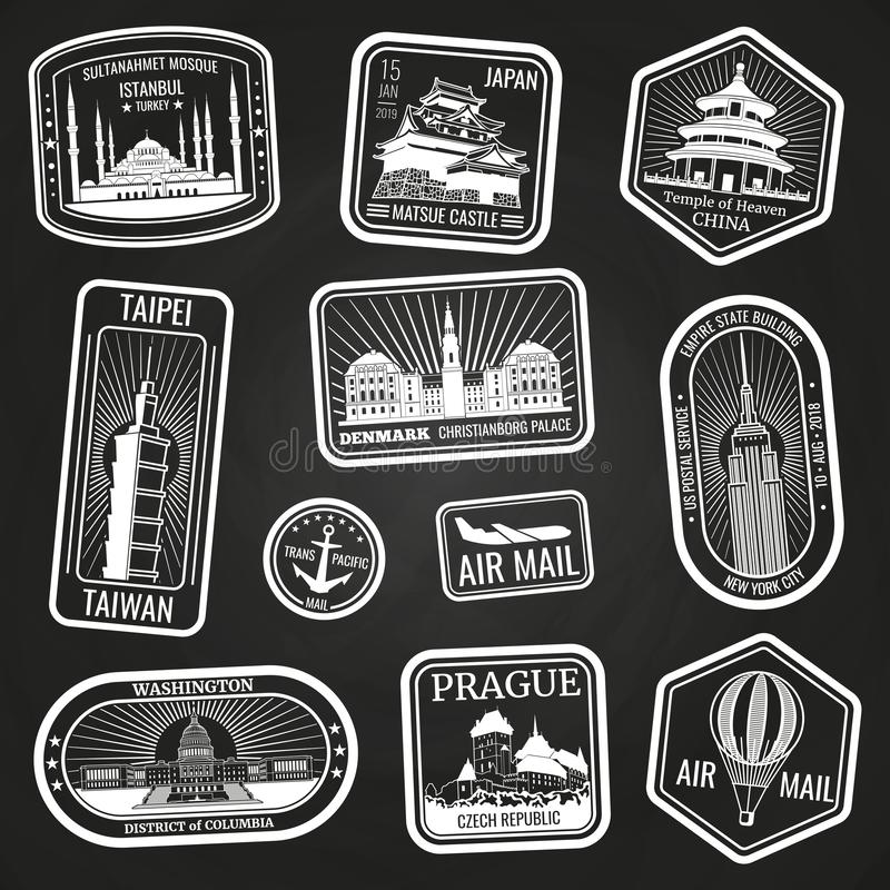 Witte reiszegels met monumenten en oriëntatiepunten royalty-vrije illustratie
