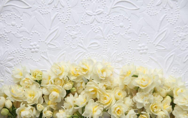Witte in reliëf gemaakte achtergrond met gele bloemen royalty-vrije stock afbeelding