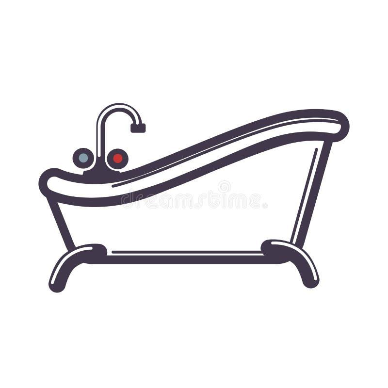 Witte retro badkuip met heet en koud geïsoleerde watertapkraan royalty-vrije illustratie